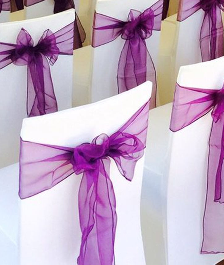 Purple chair covers