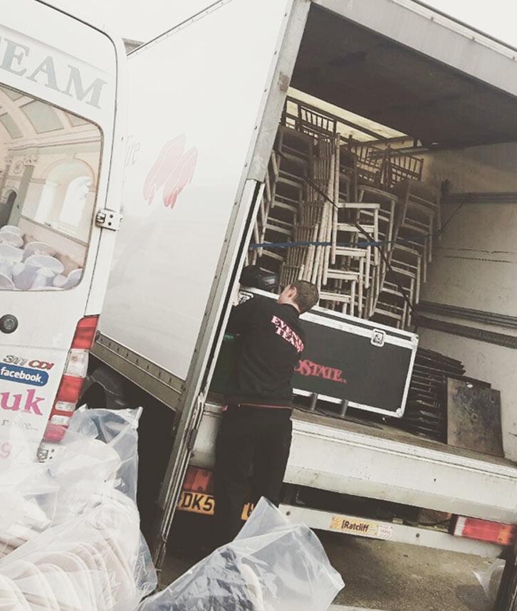 Loading equipment into the van
