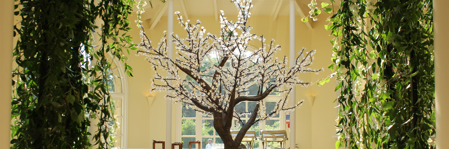 An image of LED tree being used at an event in Leicester.
