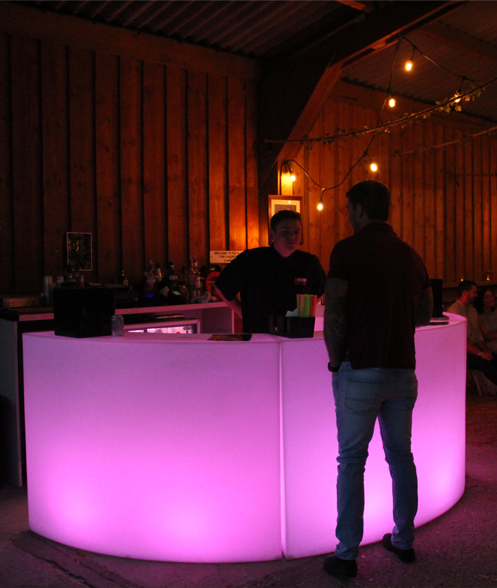 LED Curved Mobile Bar Hire in Leicester