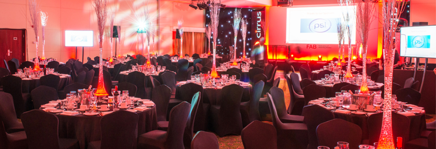 An image of a corporate event that has been designed and set up by Solid State UK.