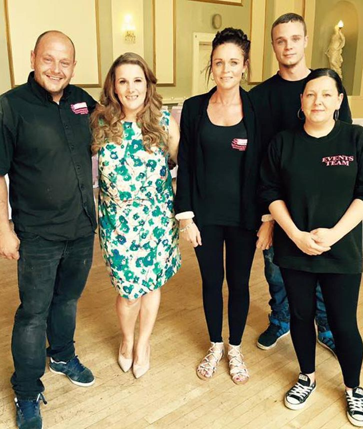 Solid State UK team with X Factor winner Sam Bailey