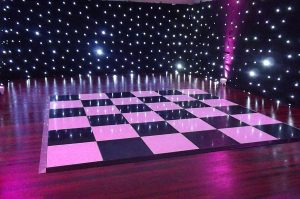An image of a chequered dance floor available for hire for various events from Solid State UK.