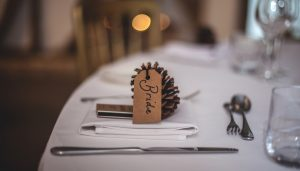 an image of a pinecone with the word 'bride' written on it, as part of Solid State UK's blog about unique wedding reception ideas