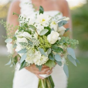 a photo of a bride holding a bouquet of flowers