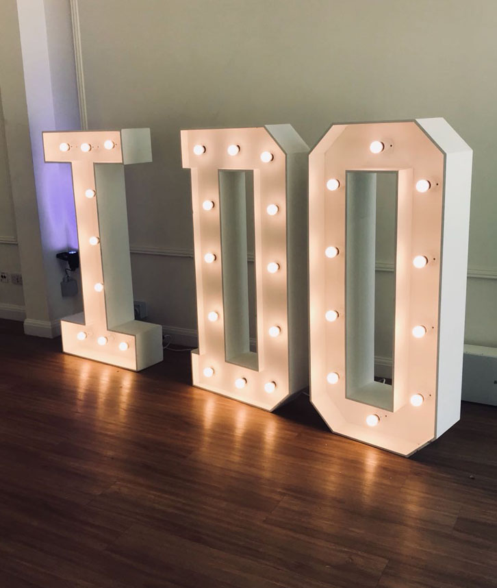 Giant Light Up Letters Hire In Midlands