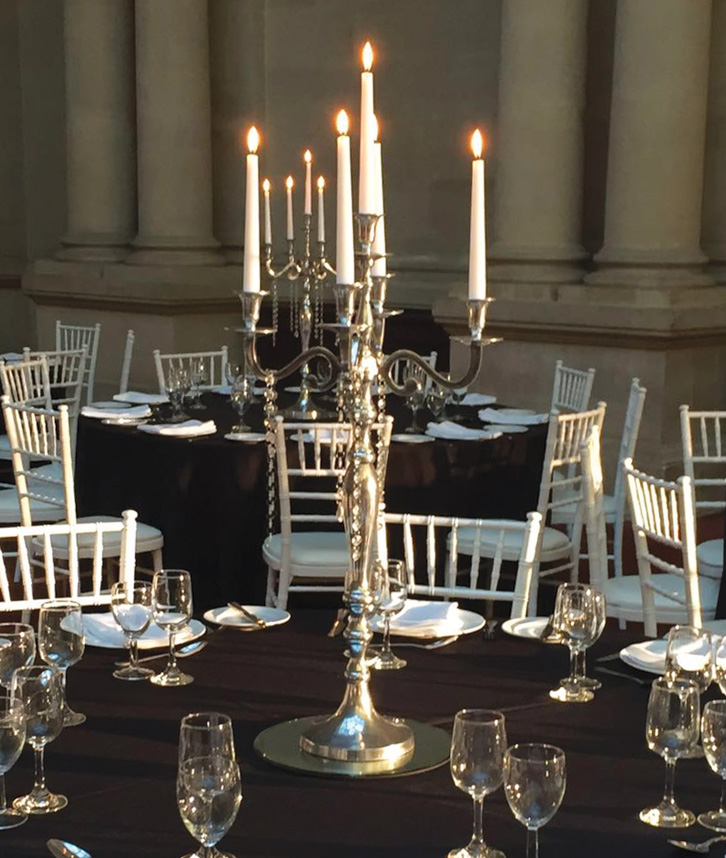 An image of a silver candelabra available for hire from Solid State UK.