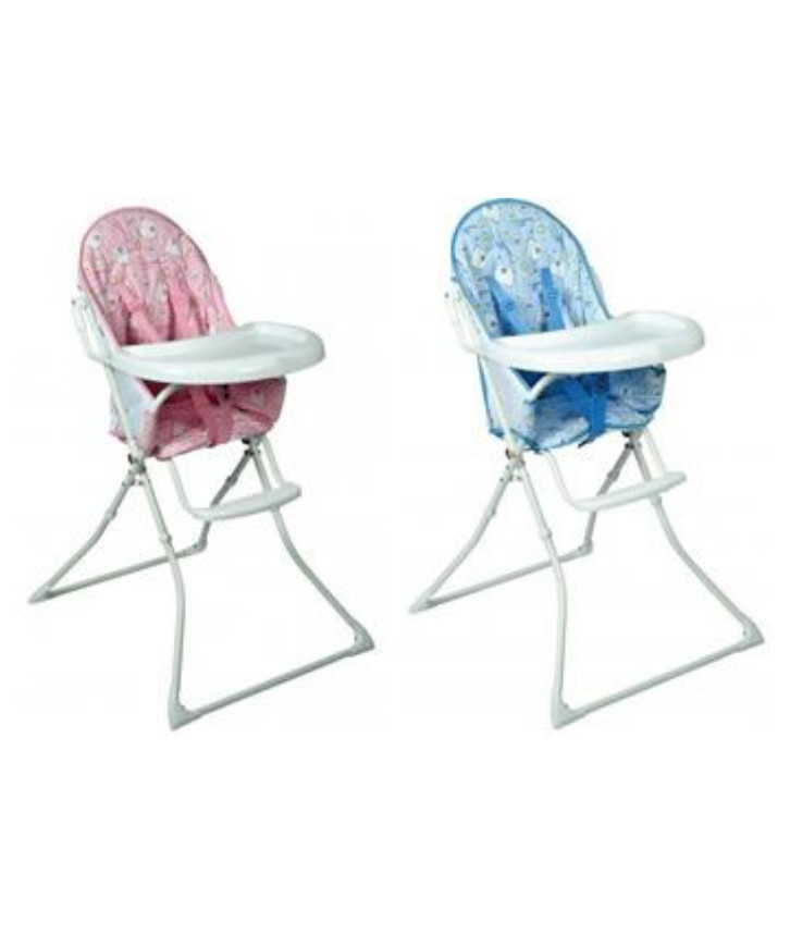An image of one pink high chair and one blue high chair