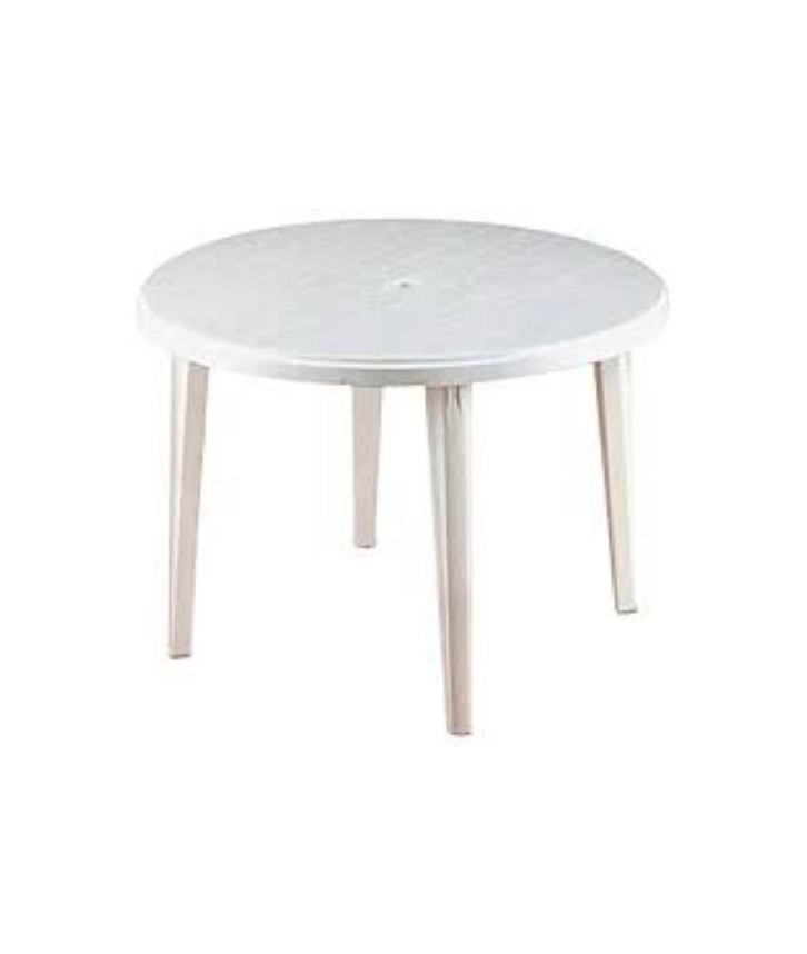 An image of a white plastic table