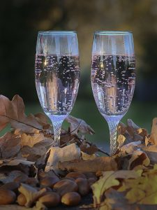 An image of two champagne glasses that are filled with champagne and being used to celebrate a wedding anniversary.