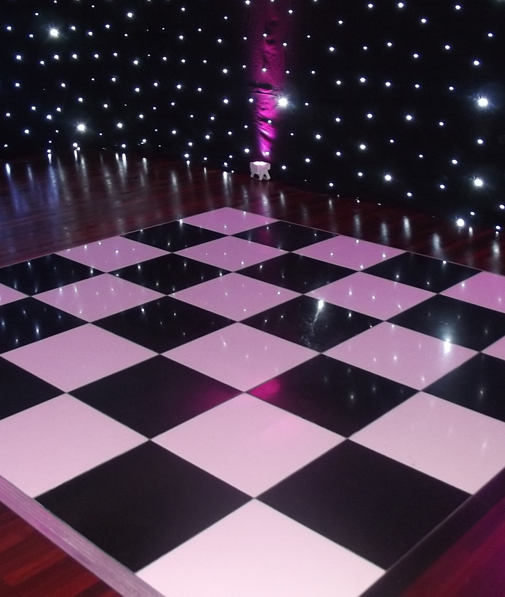 An image of a chequered dance floor surrounded by LEF star lighting.