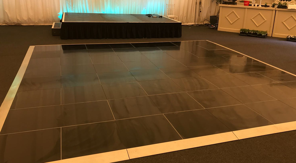 Plain Black Dance Floor Hire In Leicester