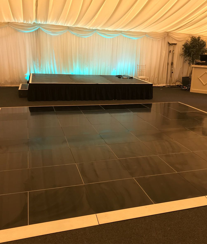plain black dancefloor hire in leicester