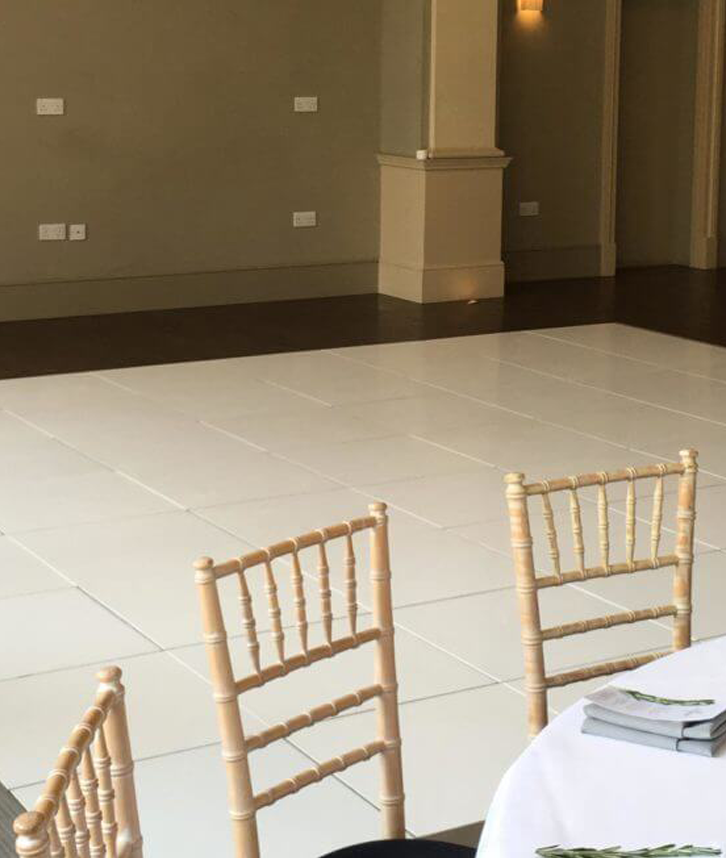 plain white dancefloor hire in leicester